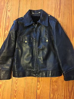 Vintage 1940-50s  Leather Policemans Motorcycle Horsehide Jacket Sz M-L RARE