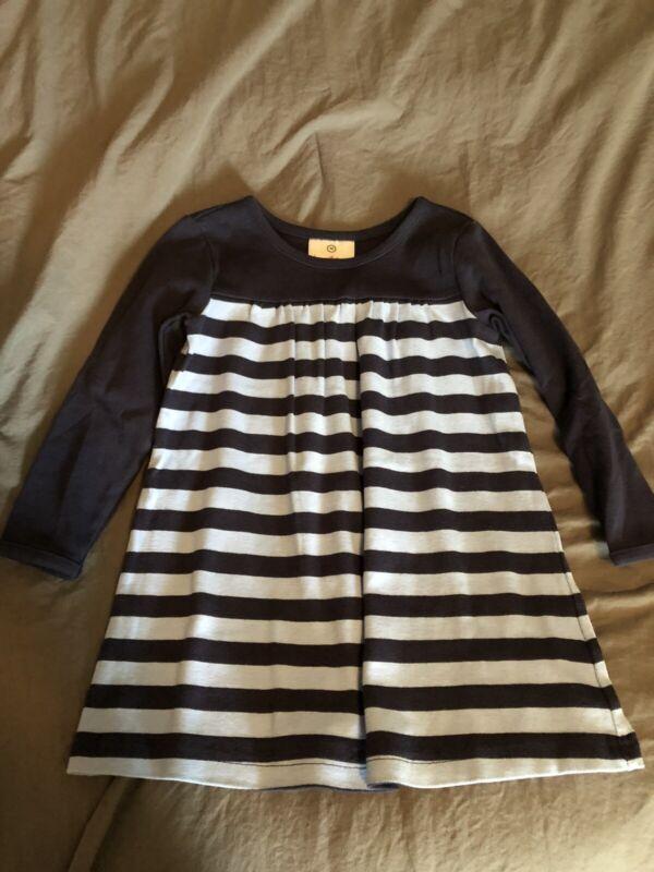 Hanna Andersson Blue Striped Long Sleeve Dress Sz 90 2t