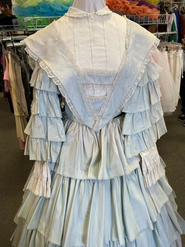 1850 Style Light Green Moire Taffeta Victorian Gown