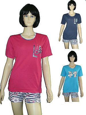Damen 100% Baumwolle Kurze (Damen Shorty kurze Hose Pyjama 100 % Baumwolle Gr.S(34/36)-XXL(42/44) schick)