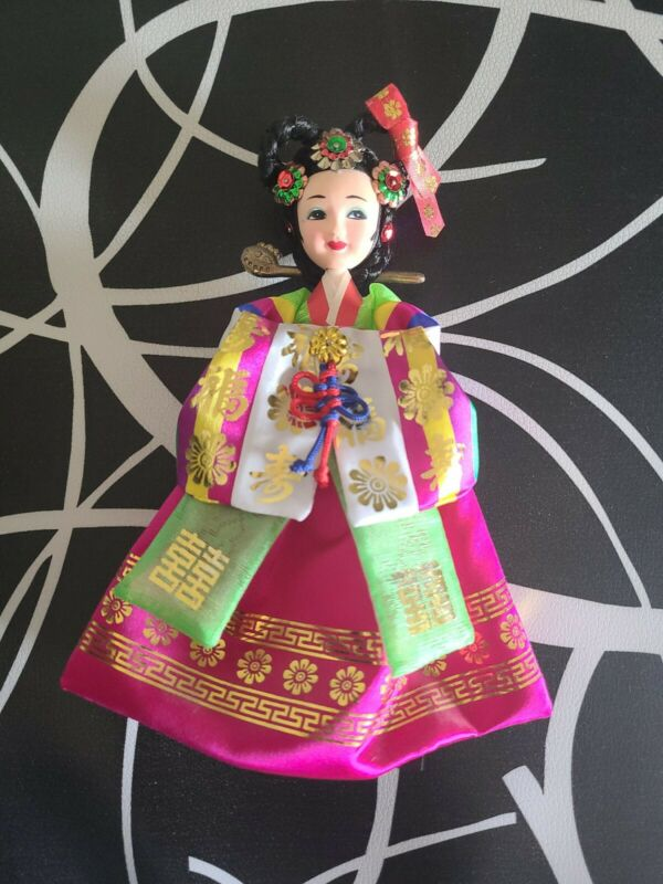 "Korean Traditional Pink Dress Silk Clothing 8"" Female Doll"