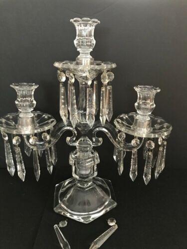Vintage Antique Cambridge Heisy Baccarat Era 3 Light Art Glass Prism Candelabra