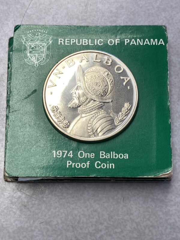 1974 Panama One Balboa Proof Silver Coin Crown Size Piece