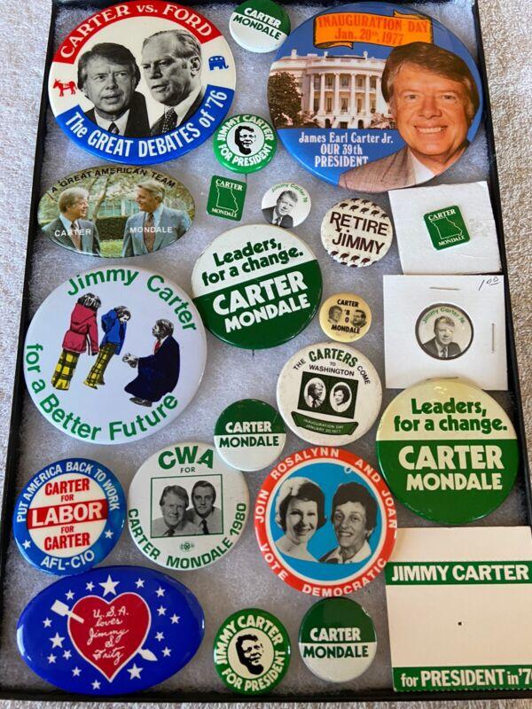 23 Presidential Political Campaign Buttons Jimmy JAMES Carter Mondale RARE C7
