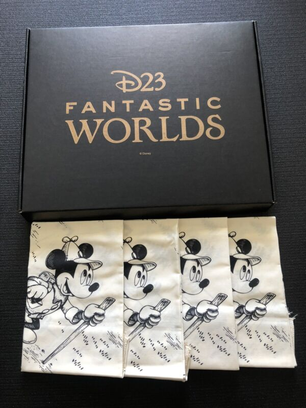 "🐹Disney🐹D23 Fantastic Worlds *Fan Club 2020* 21""x21""💗4 Handkerchiefs💗"