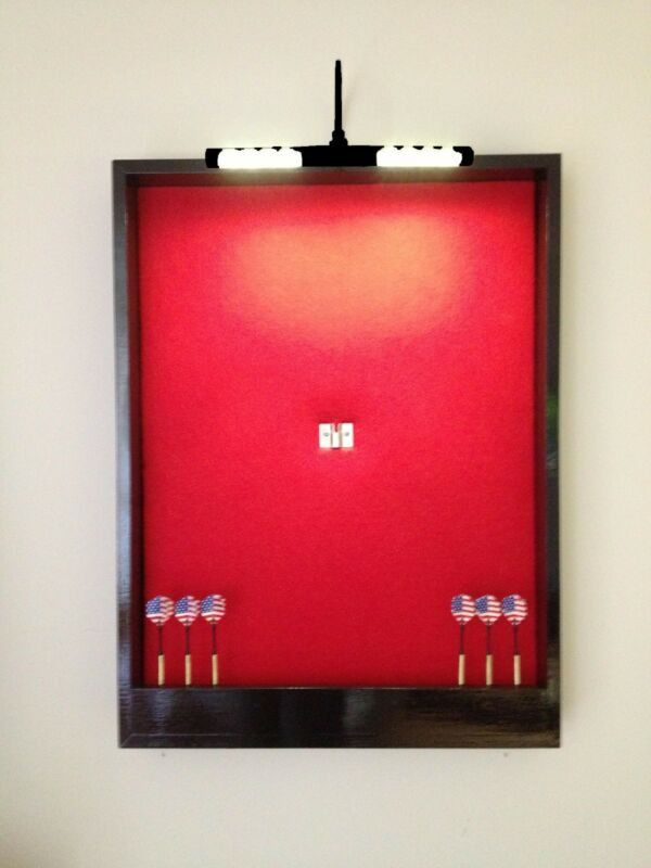 LIGHTED Red w/Black Trim Dart Board Cabinet w/LED Cordless Light & Dart Storage