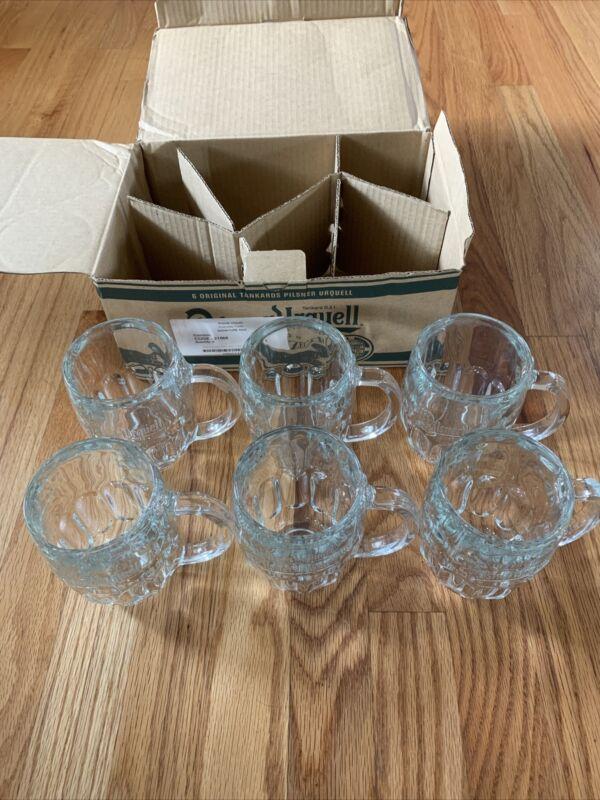 """PILSNER URQUELL Heavy Glass Tankard Beer Mug, 0.3L size, 6"""" Lot Of 6 W/Box -NEW!"""