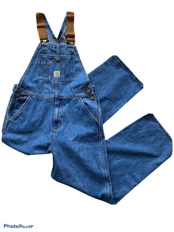 New w/o Tags Carhartt Master Cloth Denim Jeans Overalls Bibs Pants Sanforized 12