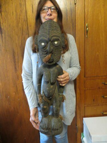"Exceptional Papua New Guinea Ancestor Female Figure Museum Quality Mid1900s 30"""
