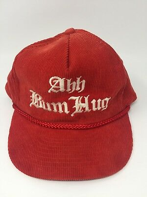 Vintage Ahh Bum Hug Red Corduroy White Embroidered - Bum Hats