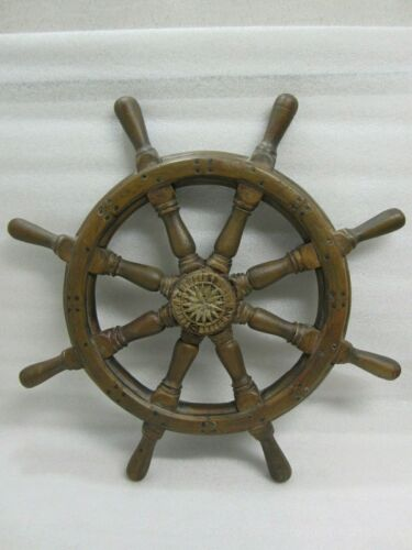 "Old Vintage 29.5"" Wood Nautical Ships Helm Wheel Wall Decorations"
