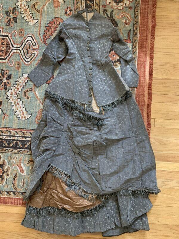 Antique 1870s Silk Brocade Three Peice Dress Ensemble With Fringe