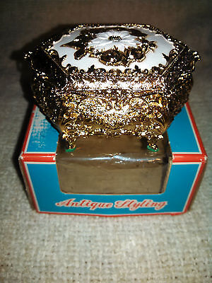 Vintage Antimony Jewelry Box Antique Styling Trinket Box Very Ornate New In Box