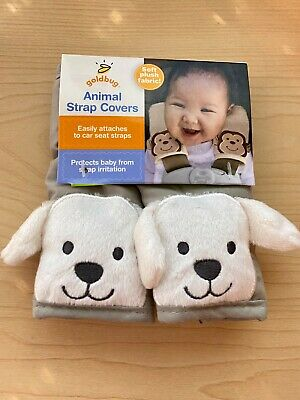 New Goldbug Car Seat Belt Strap Covers Set of 2 Dog Gray for Car Seats Strollers