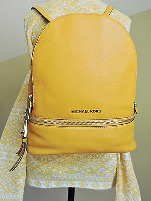 Michael Kors Rhea Sun Yellow Small Pebbled Leather Back Pack Book Bag  NWT