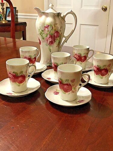 Antique Hand-painted German Porcelain Hot Chocolate Set