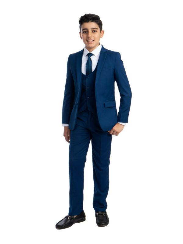 Perry Ellis Big Boys Royal Blue 5 Piece Classic Formal Special Occasion Suit 12
