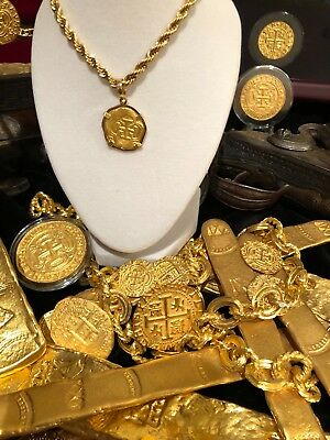 ATOCHA NEW GOLD PENDANT 2 ESCUDOS 24KT  DOUBLOON SHIPWRECK TREASURE JEWELRY COIN](Gold Doubloons)