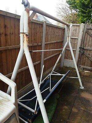 Broken Outdoor Garden Swing Rusted Three Seater Metal Blue Parts Poles