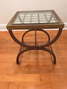 End Table - Bronze with Glass Top