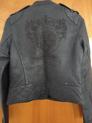 Hardy Tiger Leather (Rare Ed Hardy Tiger Tattoo Quilted Studded Blue Leather Slim Biker Moto Jacket S)