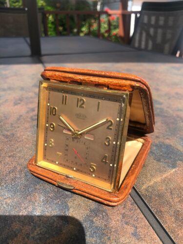 Vintage Angelus Foliodate Desk Travel Clock Day Date Salmon 8 Days Clock