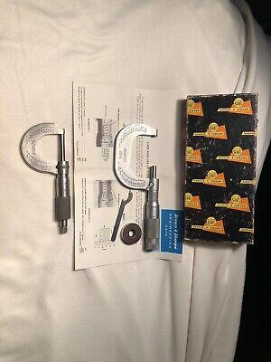 2 Vintage Micrometers Brown Sharpe 20-1 Carbide Tip Micrometer Starrett 231