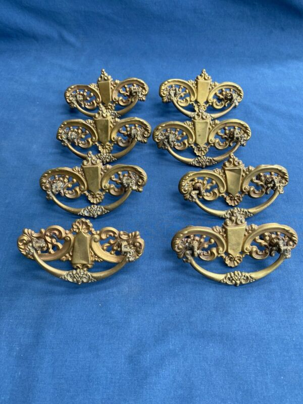 8 Antique Ornate Stamped Brass Drop Bail Drawer Pulls Furniture Hardware