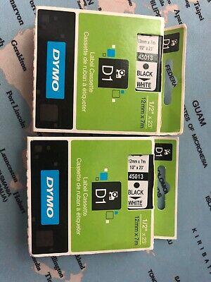 2 Dymo D1 Label Cassette 45013 Black On White 12mm X 7m For Label Makers