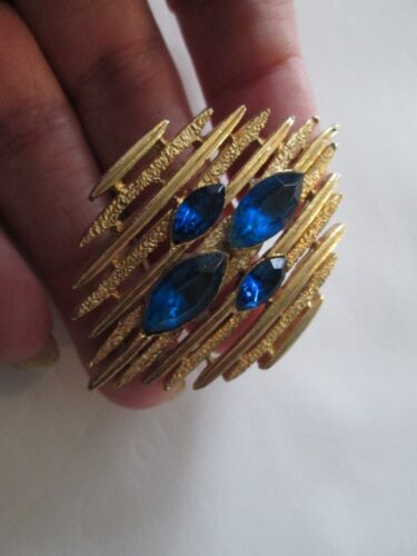 Vintage Modernist Abstract  Brooch Pin Gold Tone blue sapphire rhinestones Mod