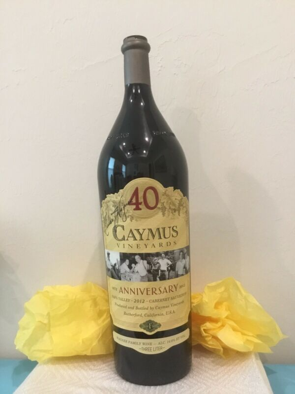 EMPTY 40TH ANNIVER 3 LITER CAYMUS WINE  BOTTLE SIGNED BY WINEMAKER CHUCK WAGNER