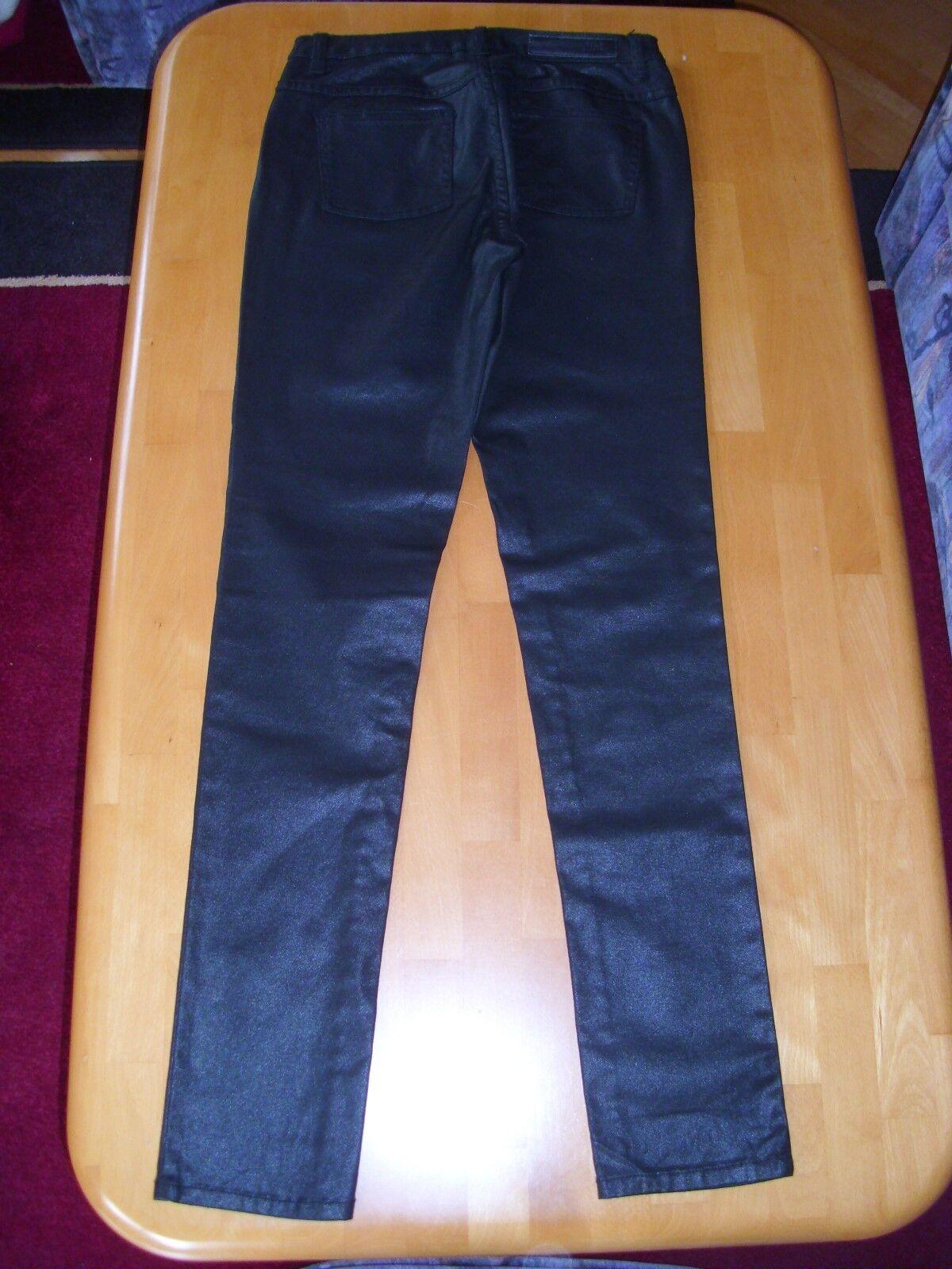 Marken Röhren Hose VILA CLOTHES schwarz Glanz 29 W 34 L  neu