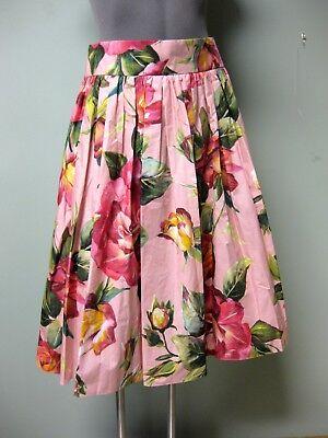 Dolce & Gabbana AUTH Floral Print Print Pink Multi Pleated Midi Poplin Skrit 48