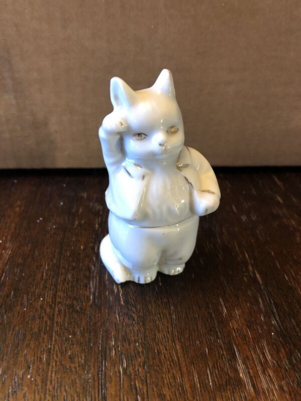 Kitty Cat Person Porcelain Small Figurine Vintage