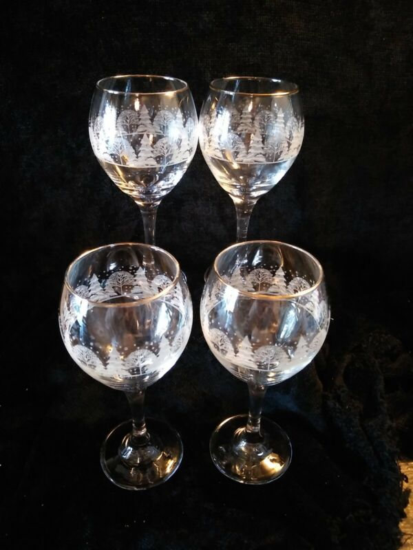 4 Libbey Christmas Winter White Frosted Pine Trees Goblets Glasses Arby