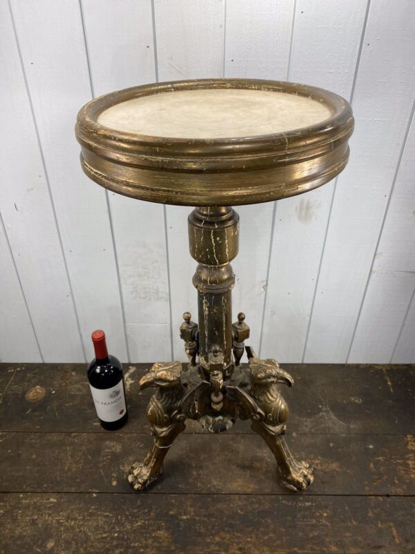 Renaissance Revival c1840's Gold Gilded Marble Top Pedestal With Eagle Feet