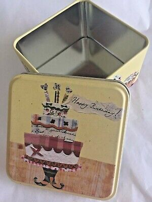 Vintage Fossil Happy Birthday Cake 3.5 inch Square Yellow Gift Tin Only (Happy Birthday Gift Tin)