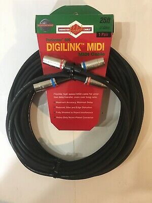 - Monster Cable Prolink Performer Digilink Midi 25' Pair P500-midi2-25 New 25 Feet