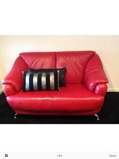 Red Leather 2 Seater Sofa Taylors Lakes Brimbank Area Preview