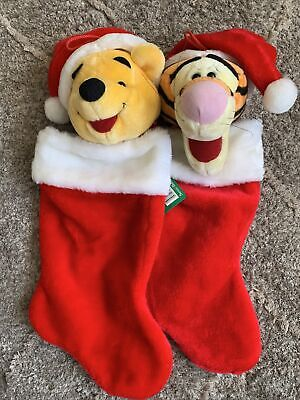 "Disney Tigger/Winnie The Pooh 19"" Plush Santa Hat Christmas Stocking-Lot Of 2."