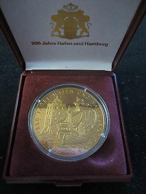 Medaille, 800 Jahre Hafen und Hamburg, 1989, Hansekogge, Bronze, 28 Gramm