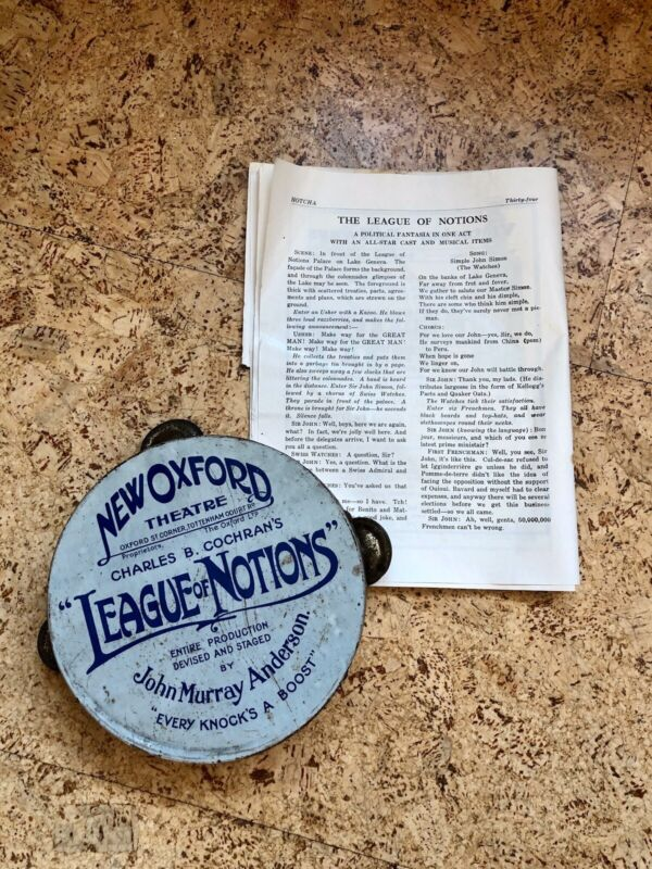 1933 Advertising Tambourine Theatrical Satire League Of Notions, Political Play