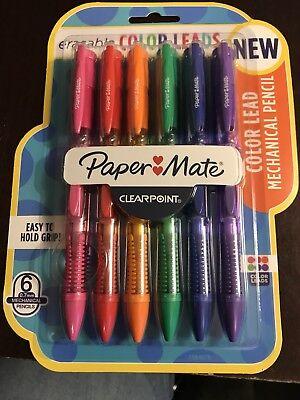 Mechanical Pencils Paper Mate 6 Pieces Color Lead 0.7mm Assorted Colors Erasable
