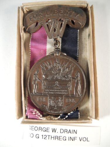 Civil war West Virginia for liberty medal to Drain & box & info on him