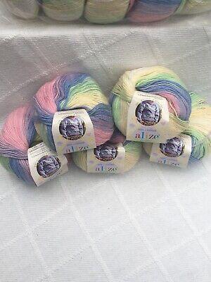 Alize Baby Wool Batik Wool Bamboo Acrylic 5 X50 Gram Balls Stunning...