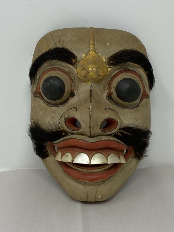 Vintage Antique Wooden & Cloth Hair Halloween Mask Bizarre Creepy