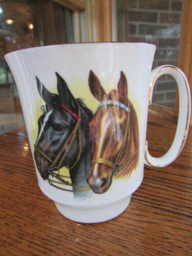 Vintage Royal Windsor 8 oz Gold Trim Horses Mug Cup Fine Bone China England