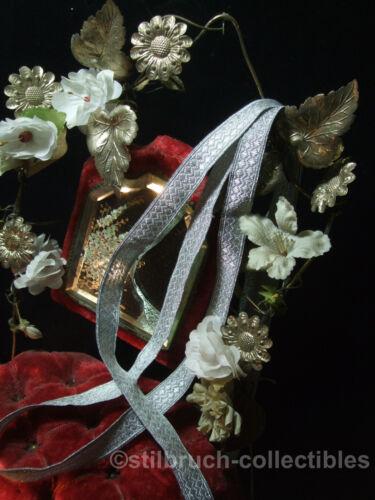 "Antique Heavy Silver Metallic Braid tape trim ribbon 5/8"" clergy military vtg"