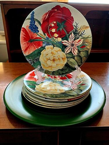 """Gien France Volupte 8.5"""" Round Cake 6 Plates Floral Bouquet & Green Presentation"""
