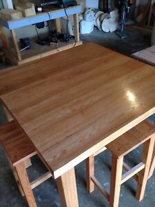Solid oak bar table